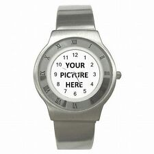 Stainless Steel Mens Sport Watch Custom Personalized YOUR PICTURE PHOTO LOGO