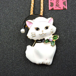 Betsey Johnson White Enamel Crystal Cat Pendant Sweater Chain Necklace