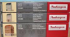 Auhagen 13334 + 13336 + 13337, Spur TT,  Bausatz Stadthäuser Markt 1 -3