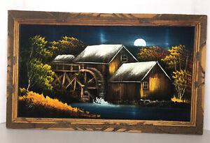 Mid Century Black Velvet Art Mexico Barn Landscape Wood Frame 22.5X13.5 Vintage