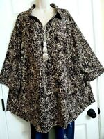 Catherines NWT Long Length Zip Front 3/4 Sleeve Stretch Blouse Top Plus 2X Brown