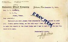 1900 GALVESTON WHARF COMPANY TEXAS Davis GEORGE SEALY Landes Bailey LETTERHEAD