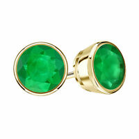 2.00CT Round Cut Emerald Bezel Set Solitaire Stud Earrings 14k Yellow Gold Over