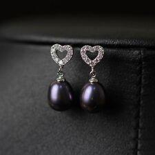 Pendiente`Orejas Pendientes perla cultivada Gris Negro Plata Enorme 925 Corazón