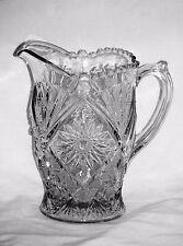 Stippled Fans Water Pitcher Lancaster Glass EAPG Circa 1910