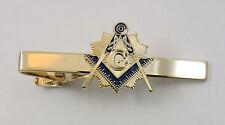 Masonic Tie Clip Square & Compasses Light Gold Tone Mason Freemason