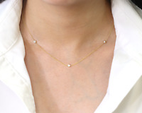 Multi Diamond Necklace.Diamond By the Yard 14K Sold Yellow gold 3 stone Necklace