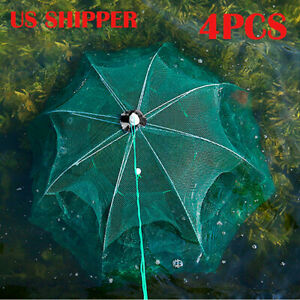 4pcs/set Foldable Fishing Bait Trap Crab Net Crawdad Shrimp Cast Dip Cage Fish