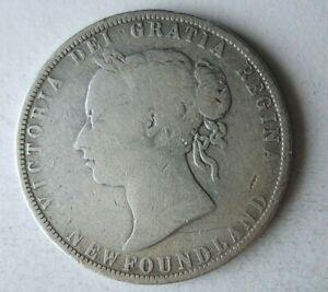 1880 NEWFOUNDLAND (CANADA) 50 CENTS - VERY RARE SILVER Coin - Lot #A9