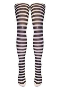 Silver Legs Striped Semi-Opaque Tights (One Size & XL) 15 Colours