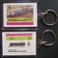 1969 Penn Central METROLINER RAILCAR Train Stamp Keyring (Loco 100)