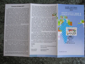 India - 2011  Census of India - stamp + first day cancel on Brochure