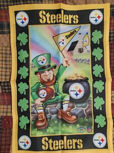 4pc LOT Pittsburgh Steelers Danbury Mint Willabee & Ward Monthly garden Flag
