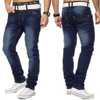 Herren Jeans Hose Slim Fit Denim stonewashed dunkelblau 5-Pocket Stretch
