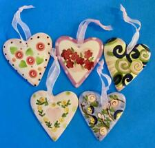 "Hanging Hearts Set of 5 Ceramic Handpainted Wall Decor 4.25"" X 3.75"""