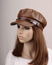 JM289 Brown Casual Rock Faux Leather Winter Autumn Hat Cap Newsboy Visor Unisex