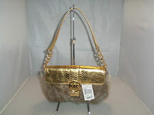 Michael Kors Handbag Small Fulton Fur Flap Bag $298  Gold / Natural