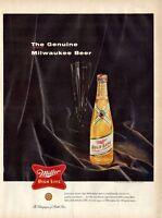 1955 Miller  PRINT AD High Life Beer bottle on velvet  Fun Vintage Decor