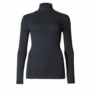 Womens Ladies Thermal Top Polo Neck Long Sleeve Ski Winter Base Layer Vest Size