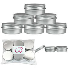6 Pieces 60G/60ML Aluminum Silver Tin Sample Container Jars with Screw Top Lid