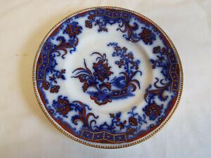 Nice antique flow blue plate in Carlton 9664 pattern.