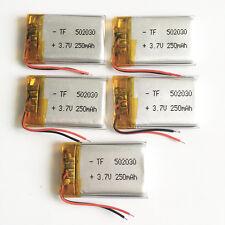 5 pcs 3.7V 250mAh 502030 Lipo Polymer Battery li-ion For Bluetooth GPS MP3 GPS