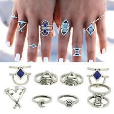 8PCS Vintage Evil Eye Midi Ring Sets Carved Moon Arrow Boho Knuckle Joint Rings