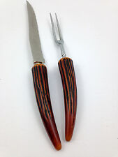 VINTAGE WAVECREST FAUX ANTLER KNIFE & FORK CARVING SET REGENT SHEFFIELD ENGLAND