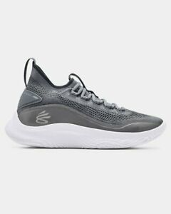 """Under Armour Curry 8 Steel / White """"Young wolf grey"""" 3023085-100 Men Sz:7.5-13"""