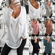 Plus Size Women Long Sleeve T Shirt V Neck Ladies Loose Blouse Tops S-3XL
