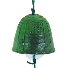 "Japanese 1-5/8""D Furin Wind Chime Iron Iwachu Green Temple Bell Made in Japan"