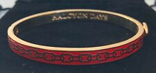 """HALCYON DAYS """"SKINNY CHAIN RED AND GOLD"""" BANGLE WITH BLACK VELVET POUCH. NEW"""