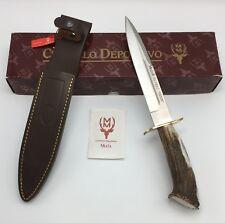 """Muela of Spain ALCARAZ Fixed Knife 12"""", Crown Deer Antler Handle, Leather Sheath"""