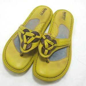 Born Green Thong Flip Flops Sandals 7 US 38 Eur Leather Embellished Boho W7043