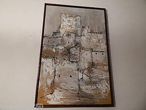 """1967 SIGNED GINO HOLLANDER PAINTING ON CANVAS 31 1/8"""" X 21"""" INTERNATINAL SALE"""