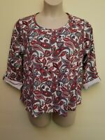 Croft & Barrow Red Green Paisley Print 3/4 Sleeve Cotton Top Blouse Plus Size 2X