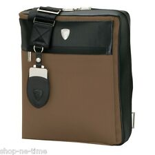 New Lamborghini Light Brown Sturdy Nylon and Spanish Leather Shoulder Bag / Tote