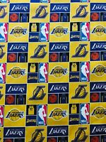 """Los Angeles Lakers - 100% Cotton  - By the Fat Eighth (9""""x22"""") - Fast Shipping"""