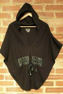 Armani Exchange A/X Women's Black Hooded Poncho 100% Merino Wool Size XS/S