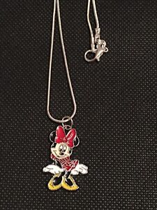 Minnie Mouse Cute Red Pendant Necklace -  925 Sterling Silver Chain