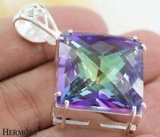 7.5CT Natural Square Multi color rainbow topaz 925 Silver Pendant jewelry Gift