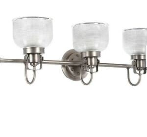 Light Antique Nickel Bathroom Vanity Light w/ Glass Shades Progress Lighting