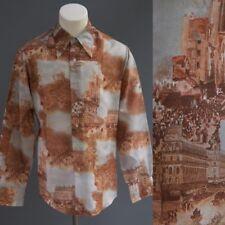 Men's Vintage 70s Chemise et Cie Autumn in Paris Disco Poly Dress Shirt Top sz M