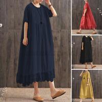UK Women Summer Short Sleeve Casual Loose Kaftan Baggy Lace Patchwork Midi Dress