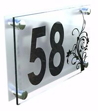 Modern House Number Plaques Acrylic Wall Door Sign Flowers Name Plate Dec4-19BS