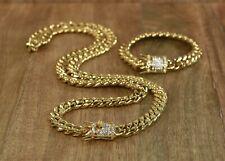 Añuel Cuban Miami Link Bracelet & Chain Set 18k Gold Plated With Diamonds Clasp
