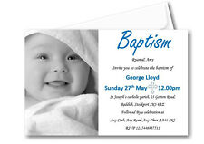 40 Personalised Boys Blue Baptism Day Invitations Invites Ref C59