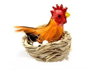 Hen In Basket, Dolls House Miniature, Animal Chicken Farm Eggs