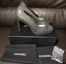 New CHANEL Distressed Black Leather Platform Heels Pumps CC Metal 40 9 9.5 Italy