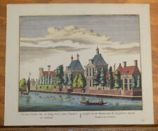 Late 1700s Antique COLOR Print/HOME & GARDENS ALONG RIVER AMSTERDAM, NETHERLANDS